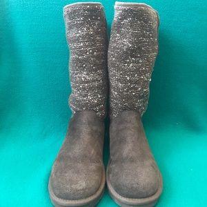 Ugg S/N 10067211 Camaya Sequin Knit Gray Boots 7